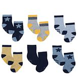 Baby Boy Just Born 6-pack Stars & Stripes Non-Skid Crew Socks
