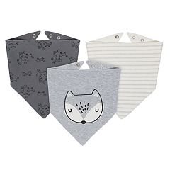 Baby Boy Just Born 3-pack Fox Handkerchief Bibs