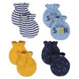 Baby Boy Just Born Organic 4-pack Space-Themed Mittens