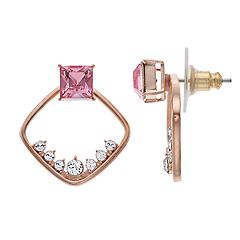 Brilliance 18k Rose Gold Over Brass Open Geometric Earrings with Swarovski Crystals