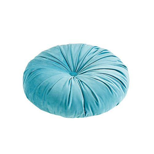 Intelligent Design Round Tufted Velvet Throw Pillow