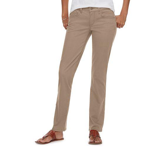Petite SONOMA Goods for Life™ Straight-Leg Mid-Rise Sateen Pants