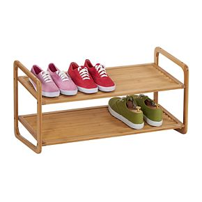 Household Essentials Bamboo 2-Tier Shoe Rack