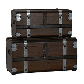 Household Essentials 2-pc. Steel Band Wood Storage Trunk Set