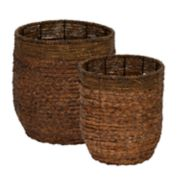 Household Essentials 2-pack Rimmed Blended-Weave Wicker Baskets