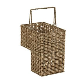 Household Essentials Two-Tone Wicker Stairstep Basket