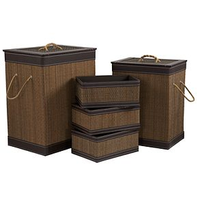 Household Essentials 5-piece Faux Leather Hampers & Baskets