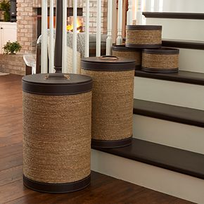 Household Essentials 5-piece Seagrass & Faux Leather Round Hampers & Baskets