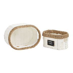 Household Essentials 2-pack Natural Rim Wicker Oval Baskets