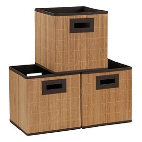 Household Essentials 3-pack Bamboo Reed Cloth Bins