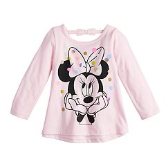 10e7149b Disney's Minnie Mouse Baby Girl Long-Sleeve Glittery Dot Graphic Top by Jumping  Beans®