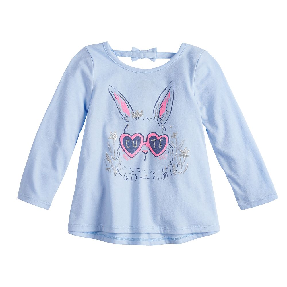 Baby Girl Jumping Beans® Glittery Bunny Graphic Swing Top
