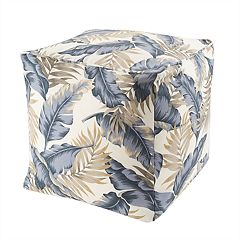 Madison Park Outdoor Palm Print Pouf