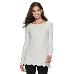 Women's ELLE™ Scallop-Hem Tunic Sweater