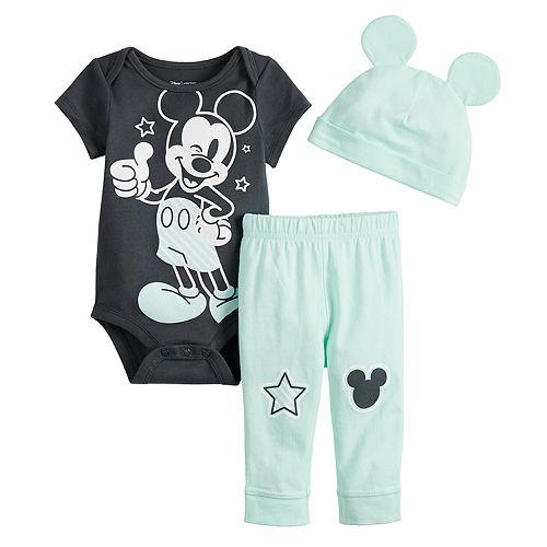 a24ba476d Disney's Mickey Mouse Baby Boy Bodysuit, Pants & Hat Set by Jumping ...