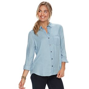 Juniors' SO® Chambray Button-Front Shirt