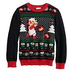 boys 4 8 jumping beans super mario bros knit holiday sweater - Grinch Ugly Christmas Sweater