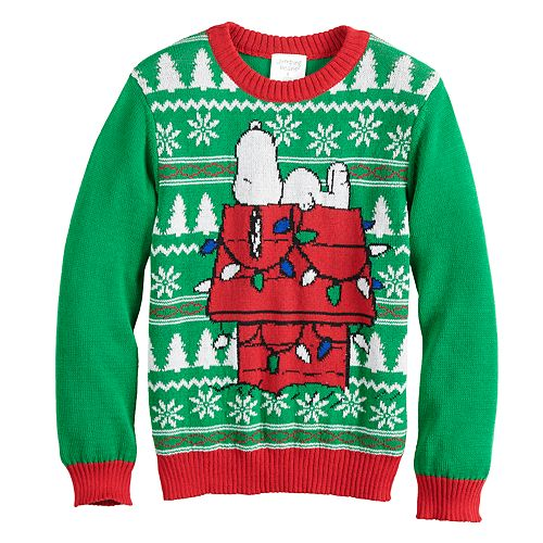 4472bbe0be Boys 4-8 Jumping Beans® Peanuts Snoopy Knit Holiday Sweater