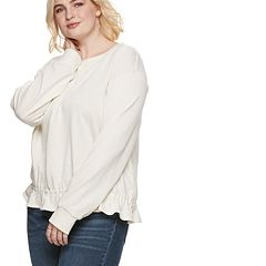 Plus Size POPSUGAR Peplum-Hem Sweatshirt