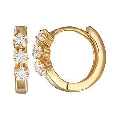 Junior Jewels Kids' Star Cubic Zirconia Hoop Earrings