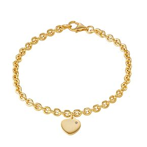 Junior Jewels Kids' Gold Tone Sterling Silver Diamond Accent Heart Bracelet