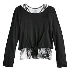 Girls 7-16 SO® Mock-Layer Knot Front Top