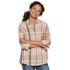 af0fe7a5eaa4 Juniors' Mudd® Button Front Shirt. White Plaid Muted Plum Pink ...