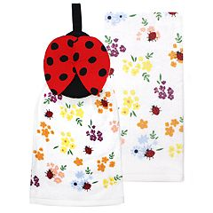 Celebrate Spring Together Ladybug Tie-Top Kitchen Towel 2-pack