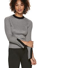 Women's POPSUGAR Ribbed Slit-Sleeve Sweater