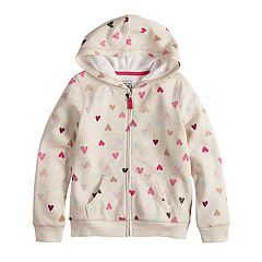 Girls 4-10 Jumping Beans® Glitter Heart Fleece Hoodie