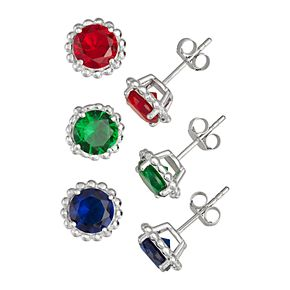 Sterling Silver Simulated Ruby, Emerald & Sapphire Stud Earring Set