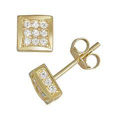 Men's Gold Tone Sterling Silver Cubic Zirconia Stud Earrings