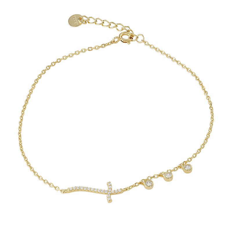 Gold Tone Sterling Silver Cubic
