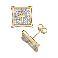 Men's Gold Plated Sterling Silver Cubic Zirconia Ankh Stud Earrings