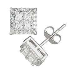Men's Sterling Silver Cubic Zirconia Square Stud Earrings