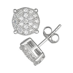 Men's Sterling Silver Cubic Zirconia Round Stud Earrings