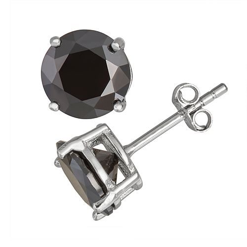 774cf3b8a Men's Sterling Silver Black Cubic Zirconia Round Stud Earrings