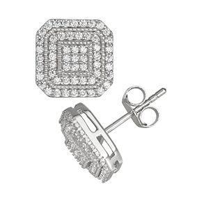 Men's Sterling Silver Halo Cubic Zirconia Stud Earrings