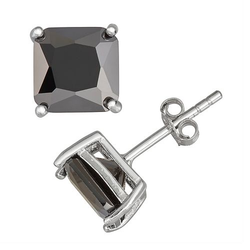 Men S Sterling Silver Black Cubic Zirconia Square Stud