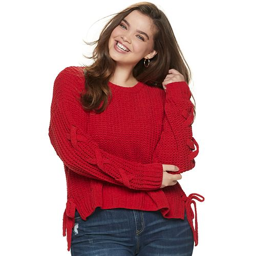 Juniors' Plus Size Candie's® Lace-Up Chenille Sweater