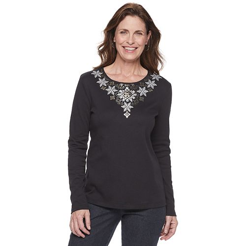Women's Croft & Barrow® Holiday Long-Sleeve Top