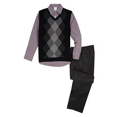 Boys 5-10 Van Heusen Argyle Sweater Vest 3-Piece Set