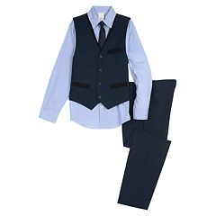 Boys 5-10 Van Heusen Contrasting Pocket Vest 4-Piece Set
