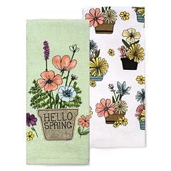 Celebrate Spring Together Flower Pot Kitchen Towel 2-pack