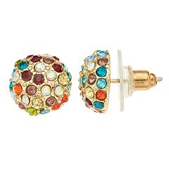 Napier Multi Colored Simulated Crystal Button Stud Earrings