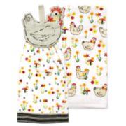 Celebrate Spring Together Chicken Tie-Top Kitchen Towel 2-pack
