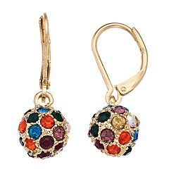 Napier Multi Colored Simulated Crystal Ball Drop Earrings