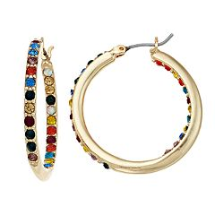 Napier Multi Colored Simulated Crystal Hoop Earrings