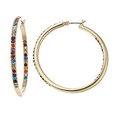 Napier Multi Colored Simulated Crystal Hoop Earrings