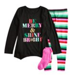 Girls 4-14 & Plus Size SO® Christmas Top & Thermal Fleece Leggings Pajama Set with Socks